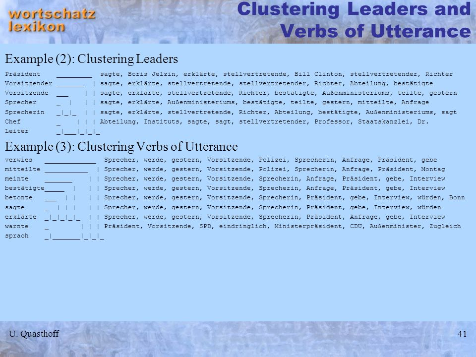 Clustering Leaders and Verbs of Utterance