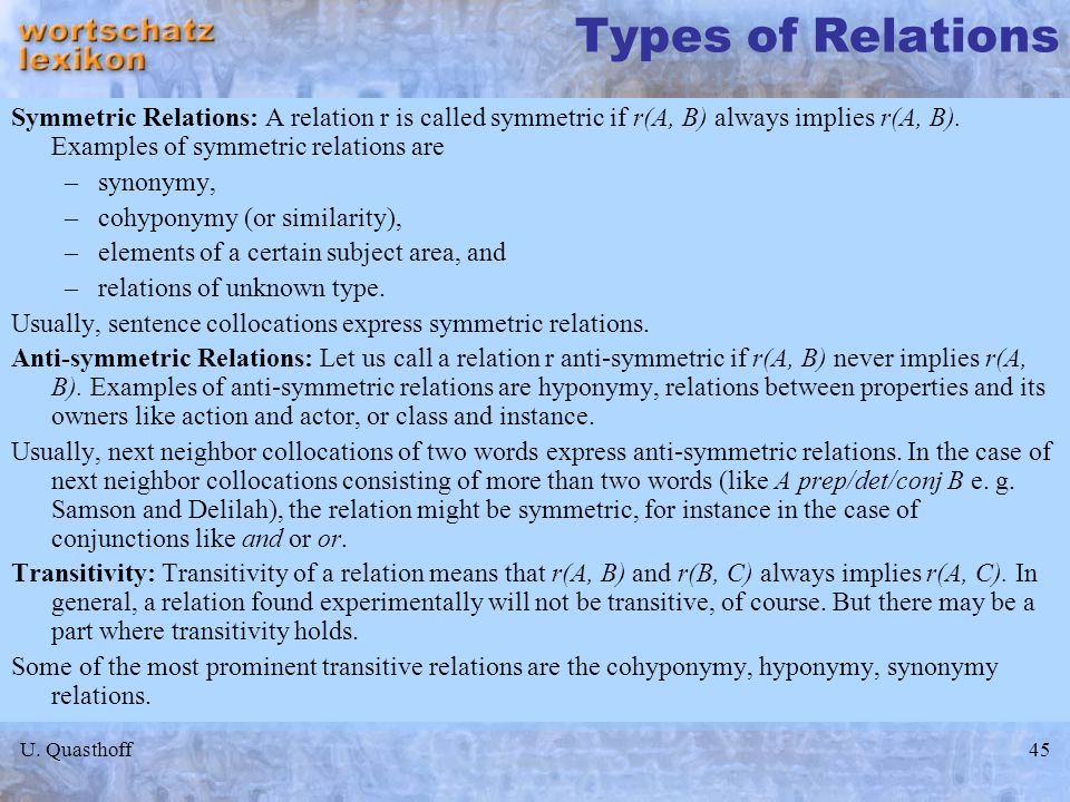 Types of Relations Symmetric Relations: A relation r is called symmetric if r(A, B) always implies r(A, B). Examples of symmetric relations are.