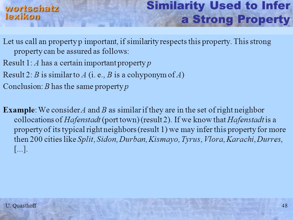 Similarity Used to Infer a Strong Property