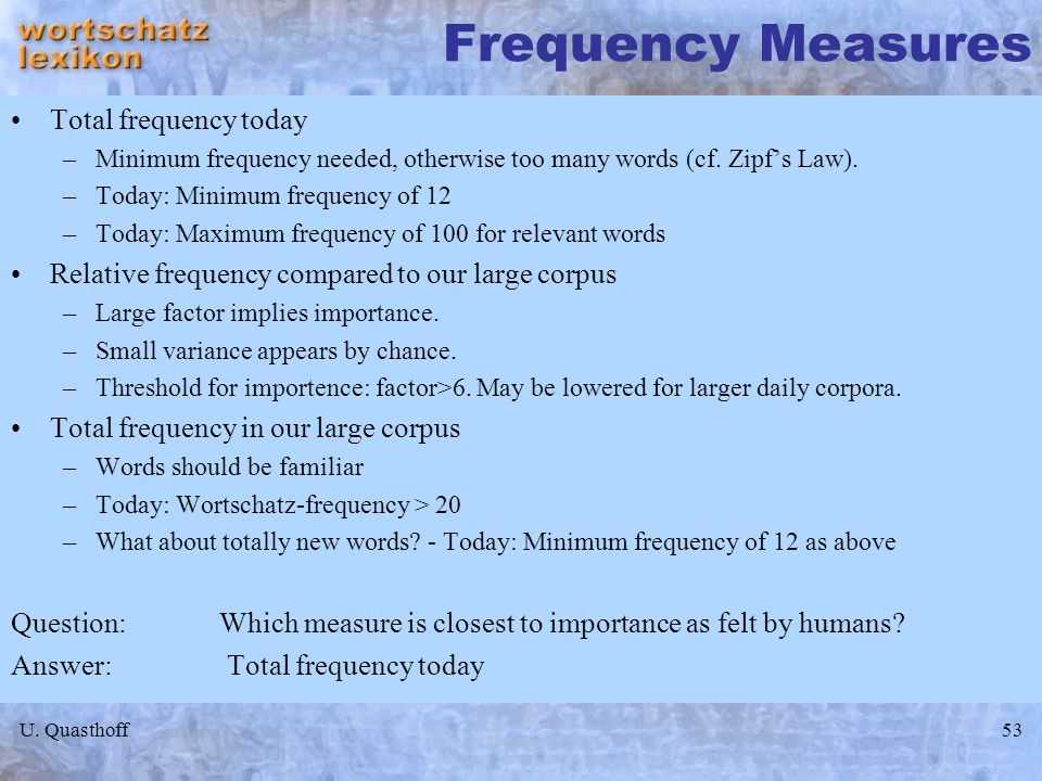 Frequency Measures Total frequency today