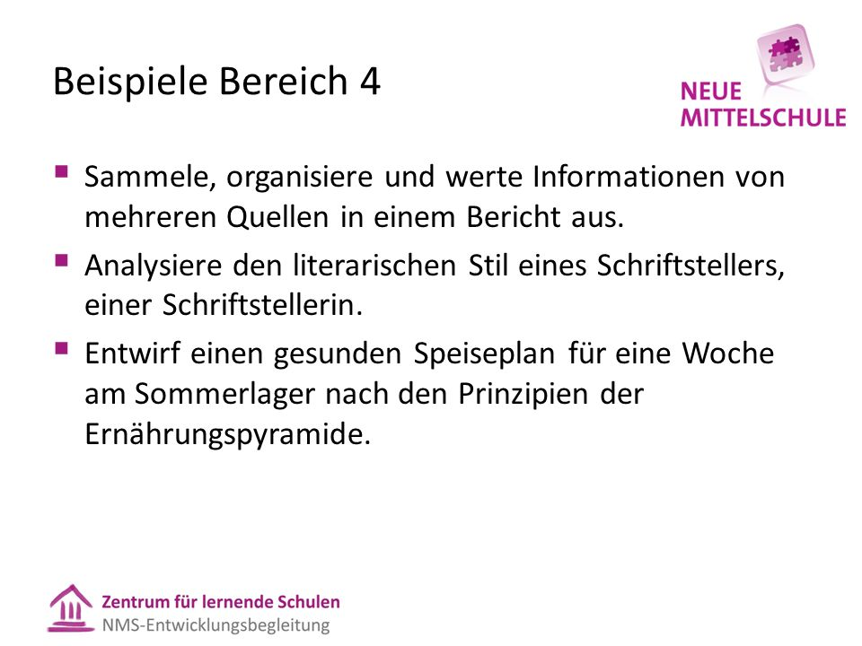 Beispiele Bereich 4Sammele, organisiere und werte Informationen von mehreren Quellen in einem Bericht aus.
