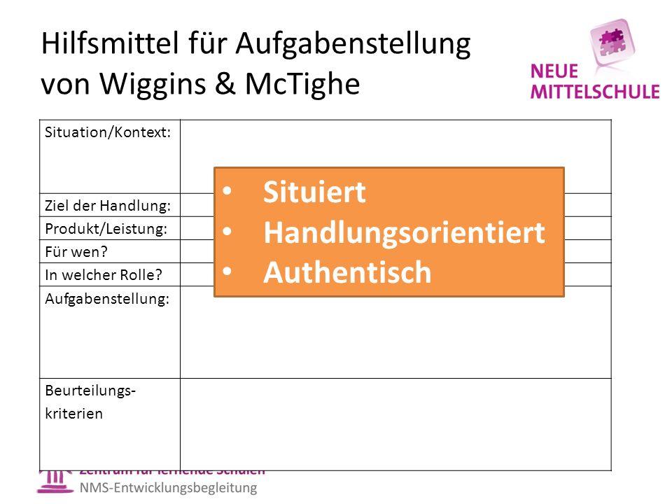 Hilfsmittel für Aufgabenstellung von Wiggins & McTighe