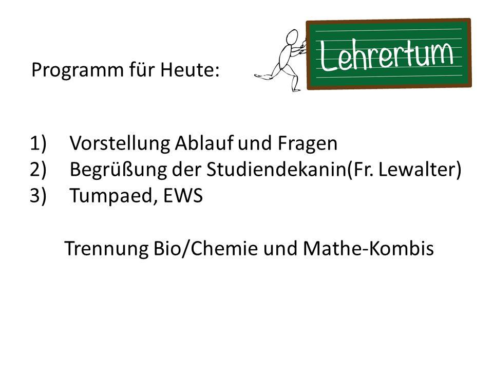 Trennung Bio/Chemie und Mathe-Kombis