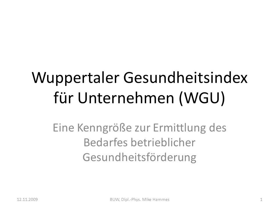 Wuppertaler Gesundheitsindex für Unternehmen (WGU)
