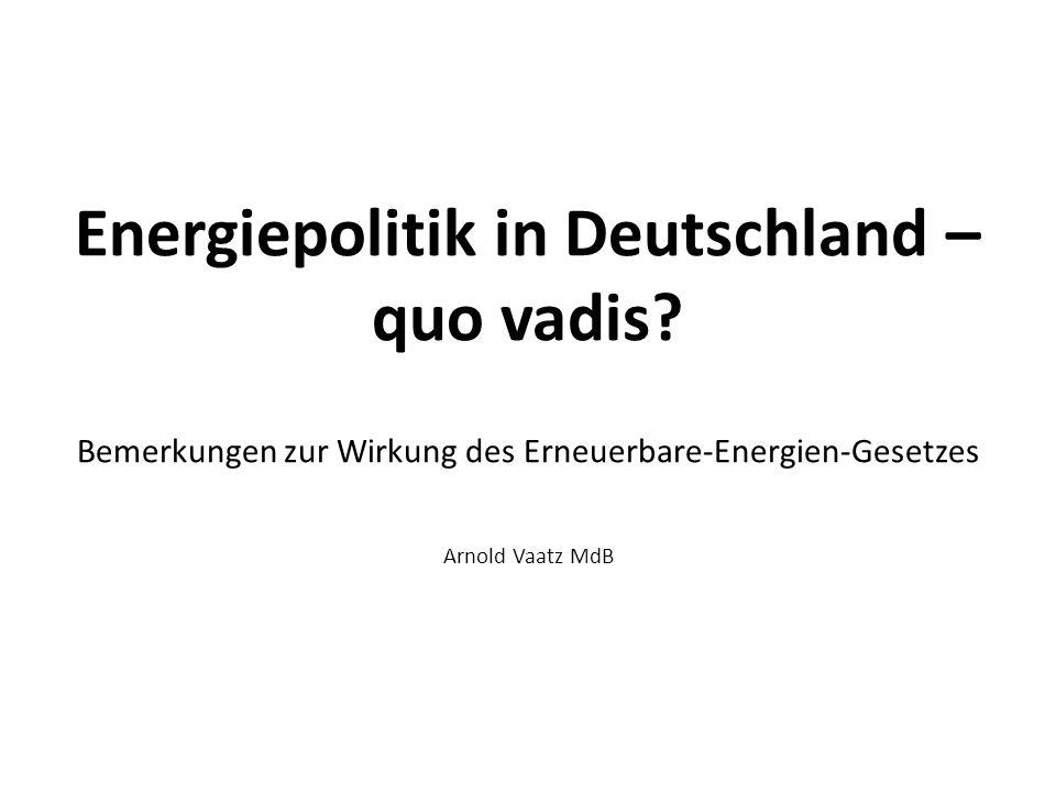 Energiepolitik in Deutschland – quo vadis