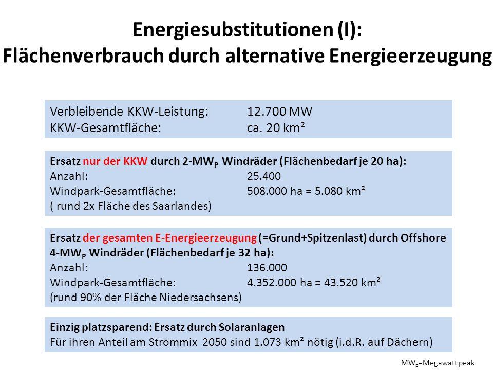 Energiesubstitutionen (I): Flächenverbrauch durch alternative Energieerzeugung