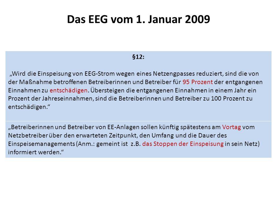Das EEG vom 1. Januar 2009 §12: