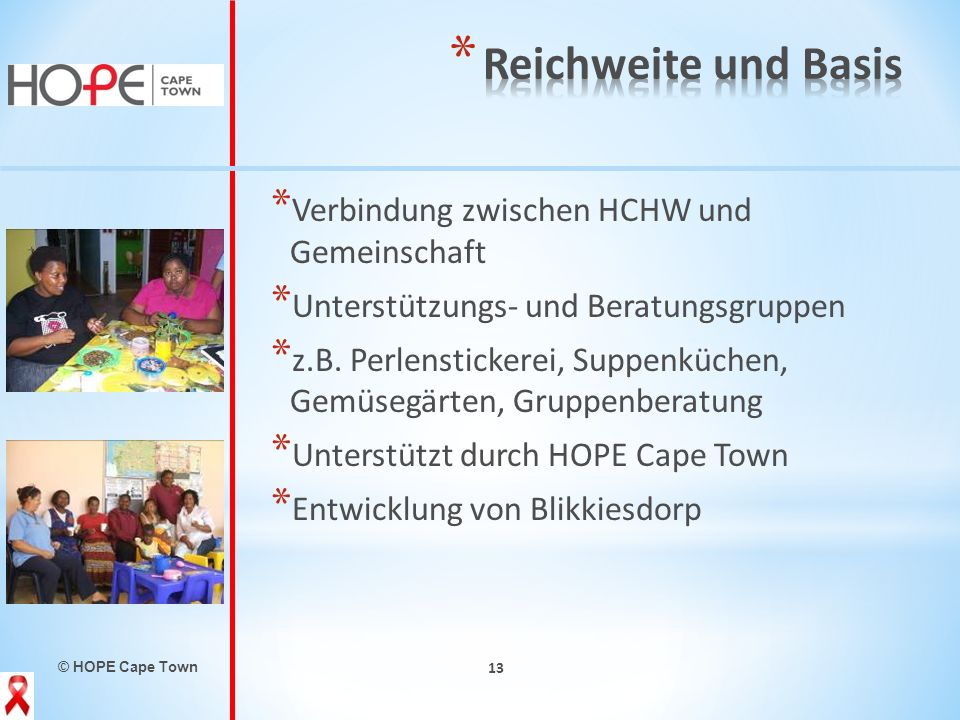 Reichweite und Basis Verbindung zwischen HCHW und Gemeinschaft