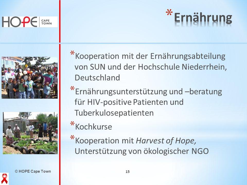 Ernährung Kooperation mit der Ernährungsabteilung von SUN und der Hochschule Niederrhein, Deutschland.