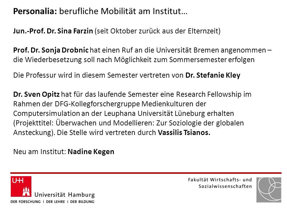 Personalia: berufliche Mobilität am Institut…