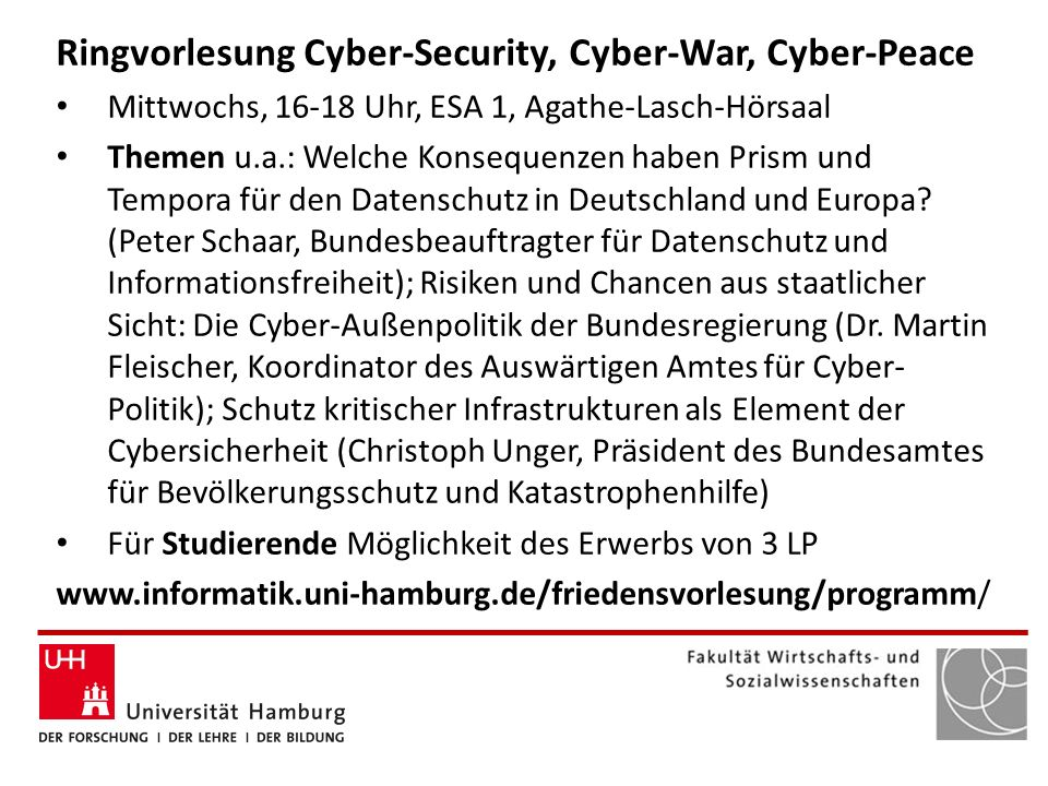 Ringvorlesung Cyber-Security, Cyber-War, Cyber-Peace