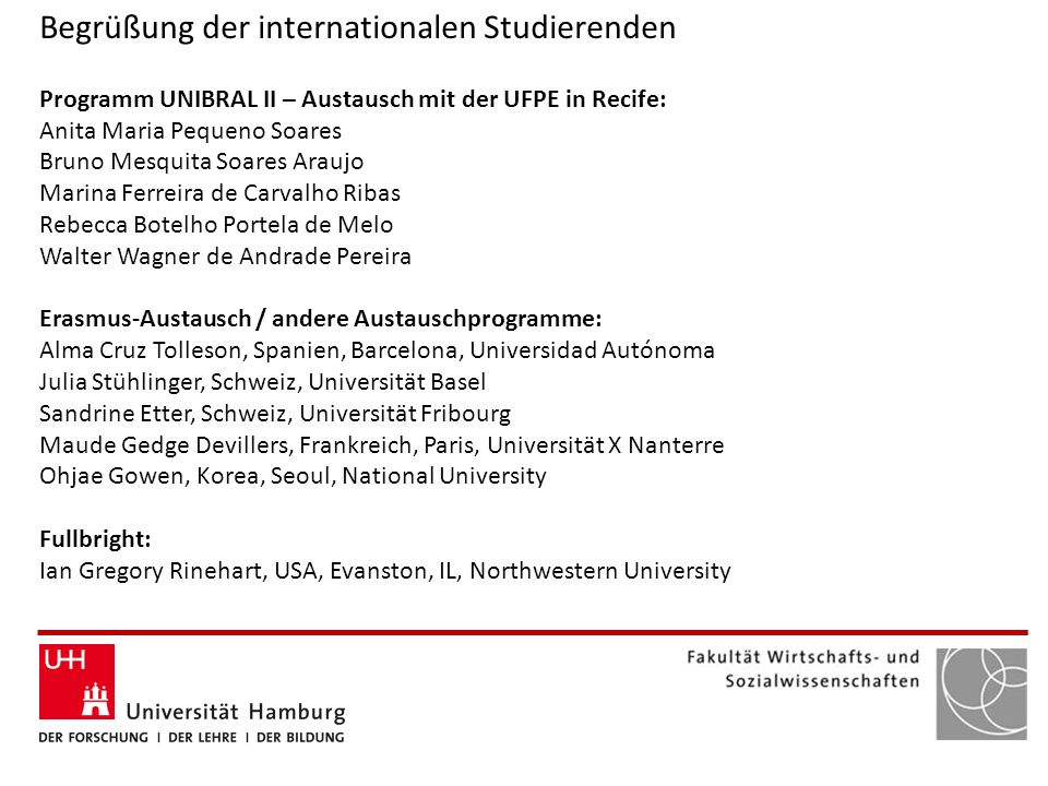 Begrüßung der internationalen Studierenden
