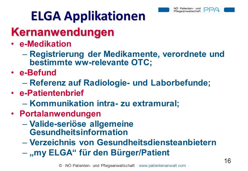 ELGA Applikationen Kernanwendungen e-Medikation