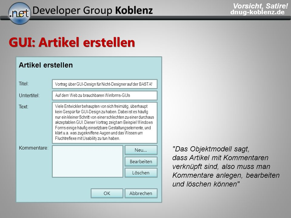 GUI: Artikel erstellen