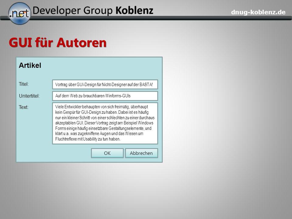 GUI für Autoren Artikel Titel: Text: Abbrechen OK Untertitel: