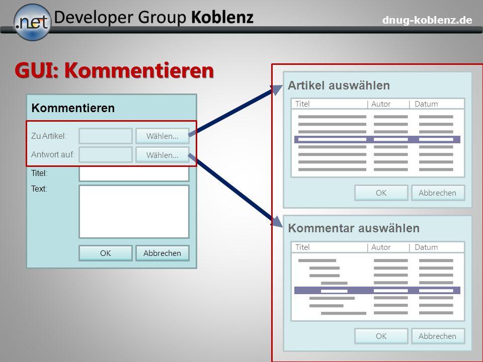 GUI: Kommentieren Artikel auswählen Kommentieren Kommentar auswählen