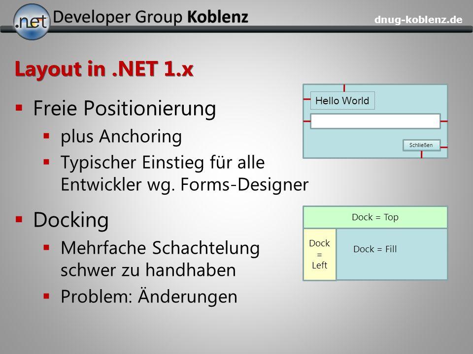 Layout in .NET 1.x Freie Positionierung Docking plus Anchoring