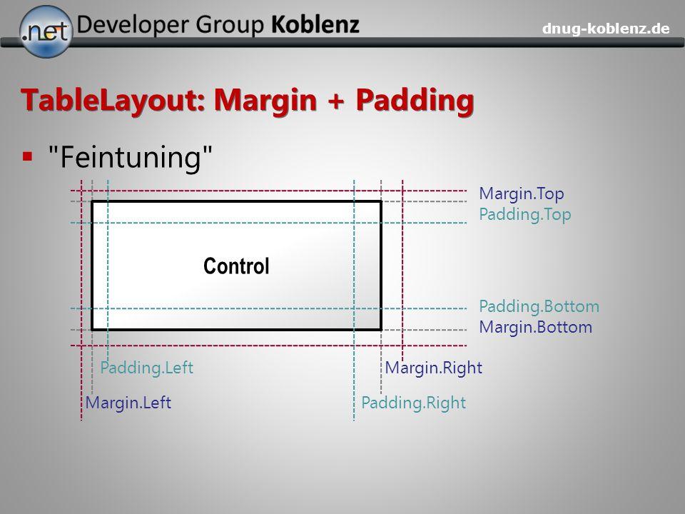 TableLayout: Margin + Padding