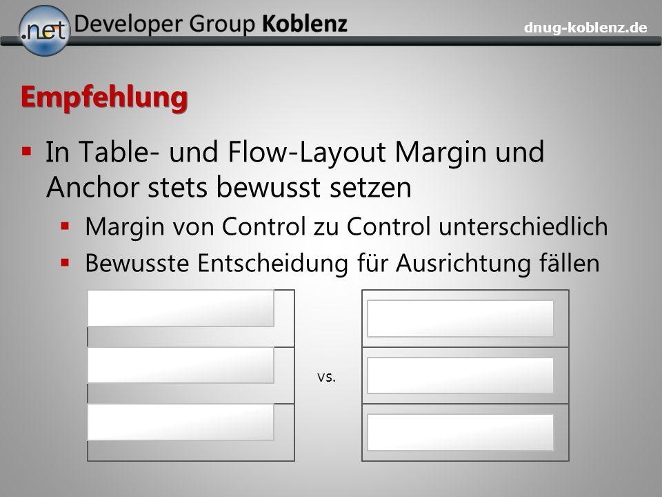 In Table- und Flow-Layout Margin und Anchor stets bewusst setzen