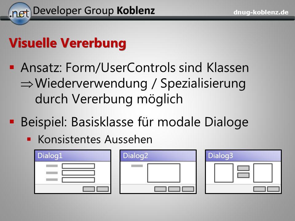 Beispiel: Basisklasse für modale Dialoge