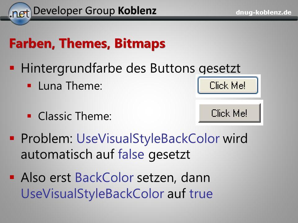Hintergrundfarbe des Buttons gesetzt