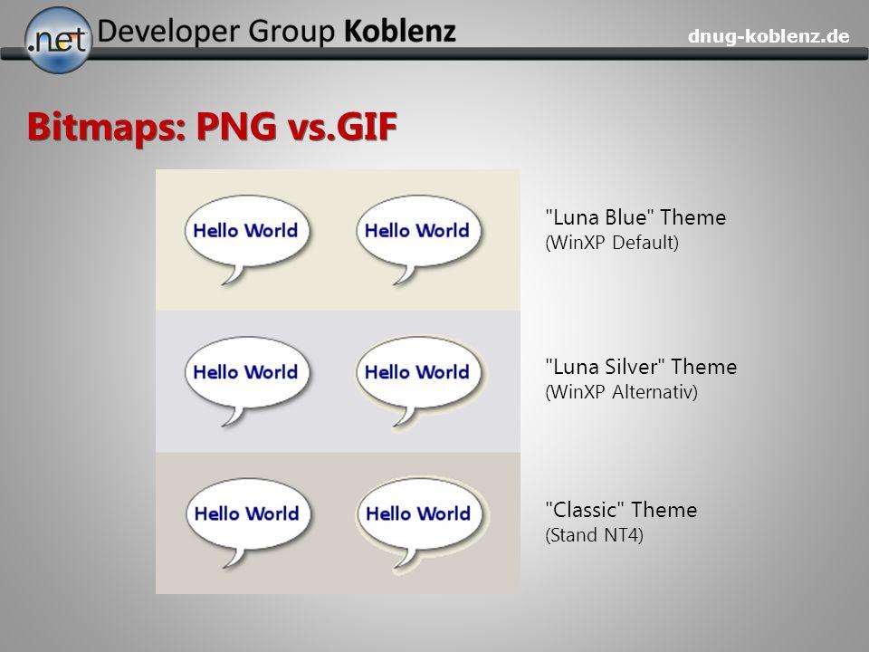 Bitmaps: PNG vs.GIF Luna Blue Theme Luna Silver Theme