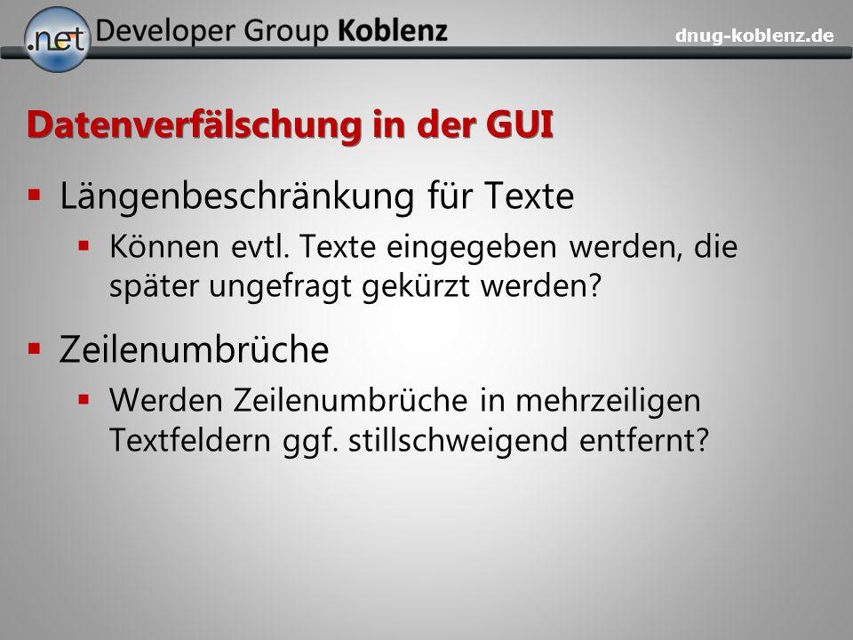 Datenverfälschung in der GUI