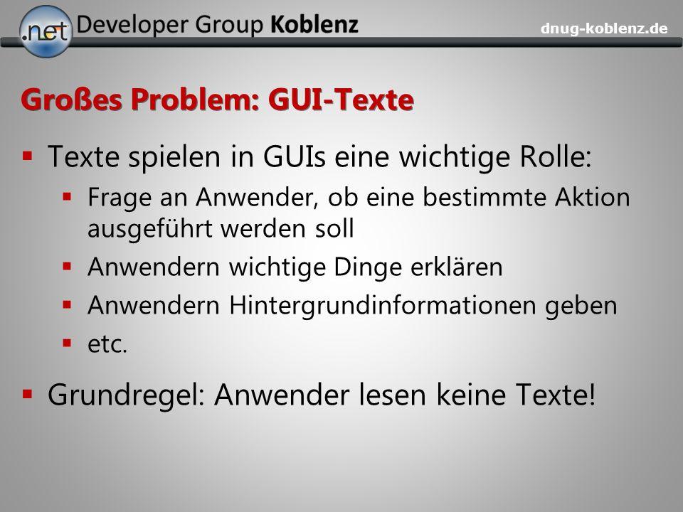 Großes Problem: GUI-Texte