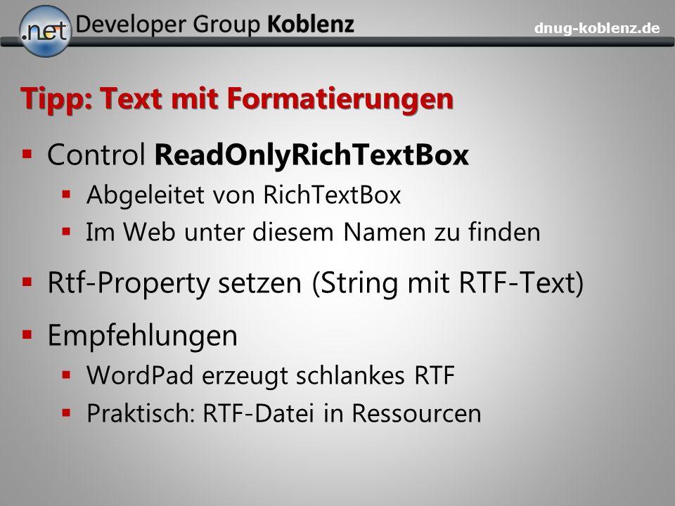 Tipp: Text mit Formatierungen