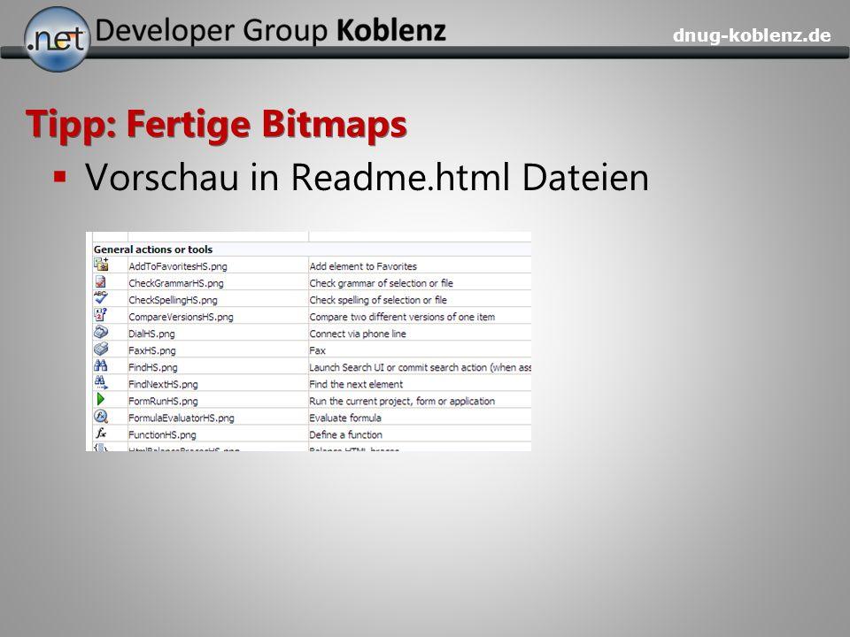 Tipp: Fertige Bitmaps Vorschau in Readme.html Dateien