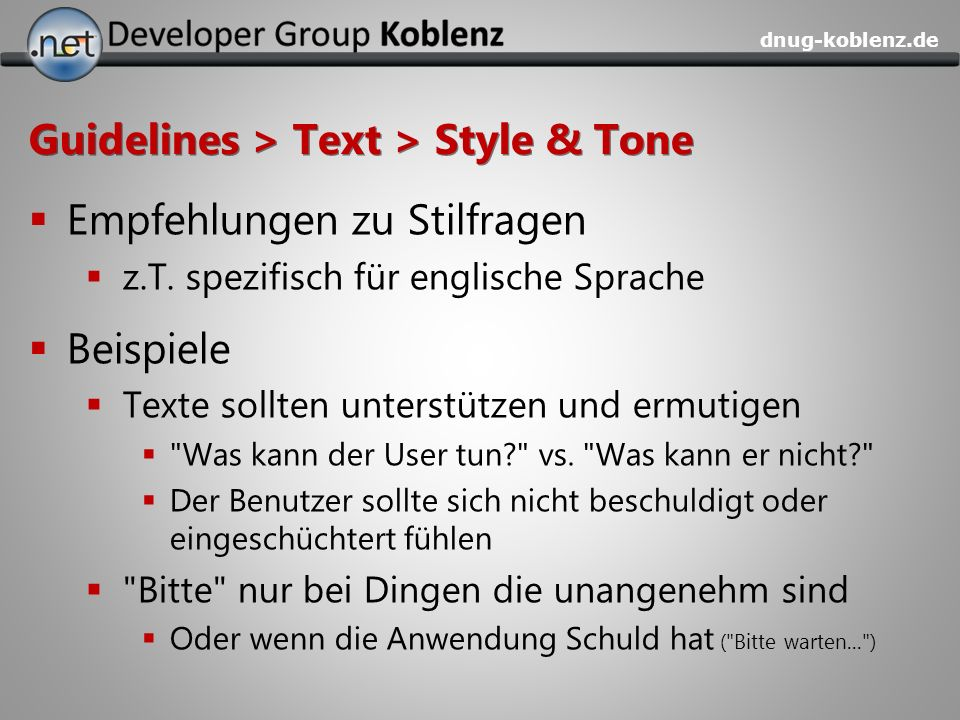Guidelines > Text > Style & Tone