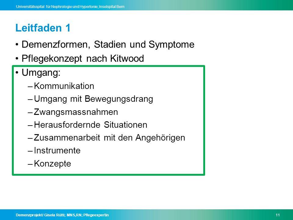 Leitfaden 1 Demenzformen, Stadien und Symptome