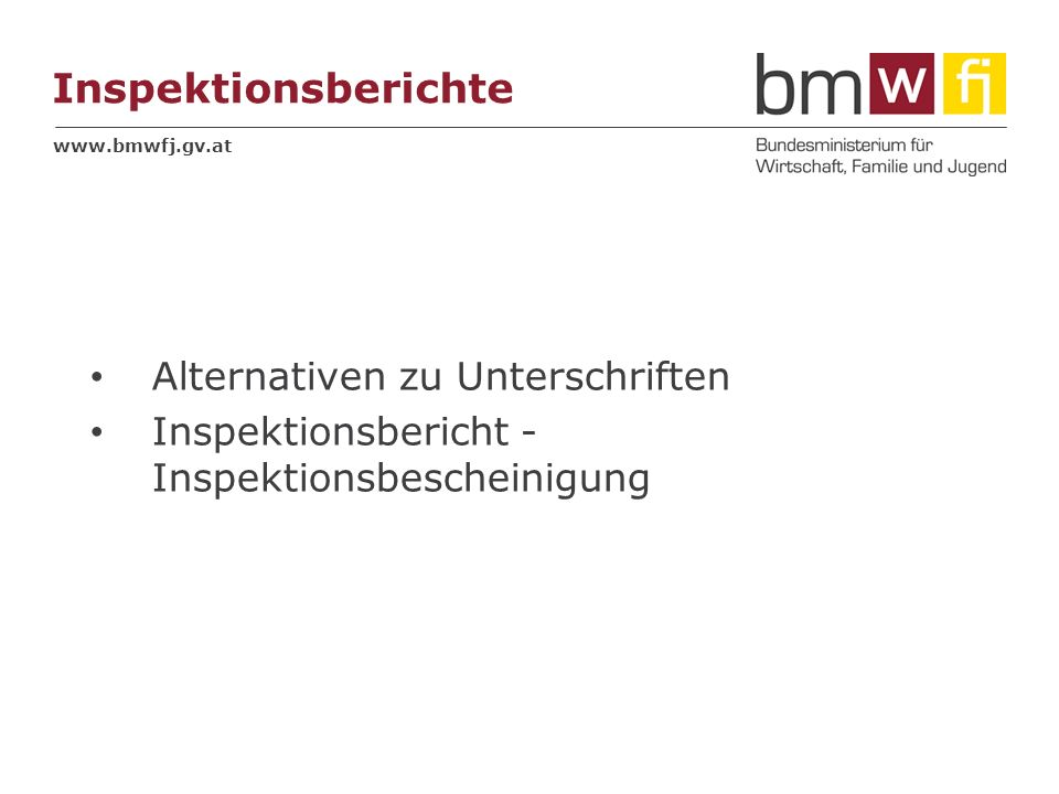 Inspektionsberichte Alternativen zu Unterschriften