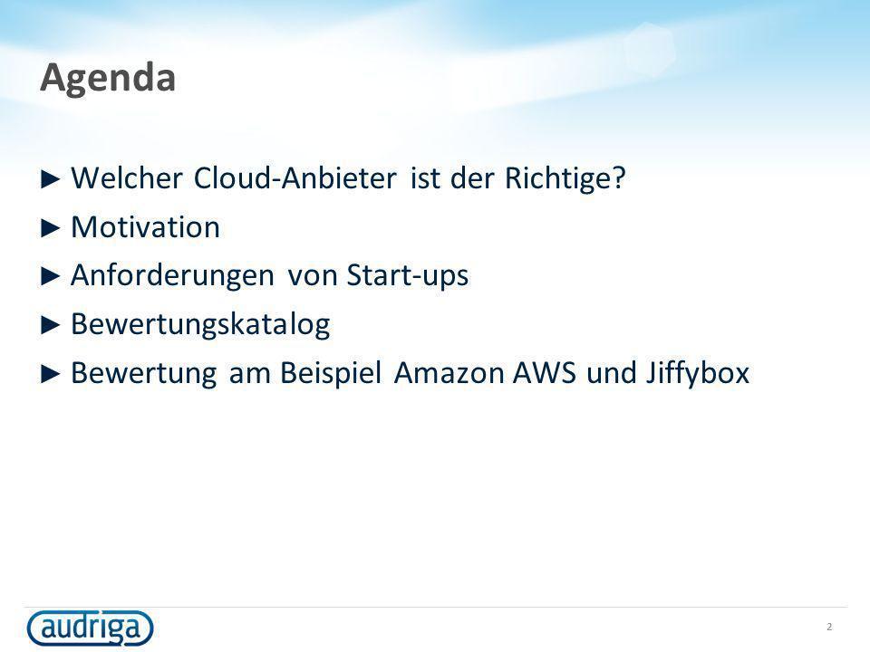 Agenda Welcher Cloud-Anbieter ist der Richtige Motivation
