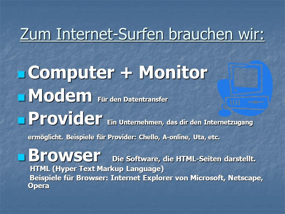 Zum Internet-Surfen brauchen wir: