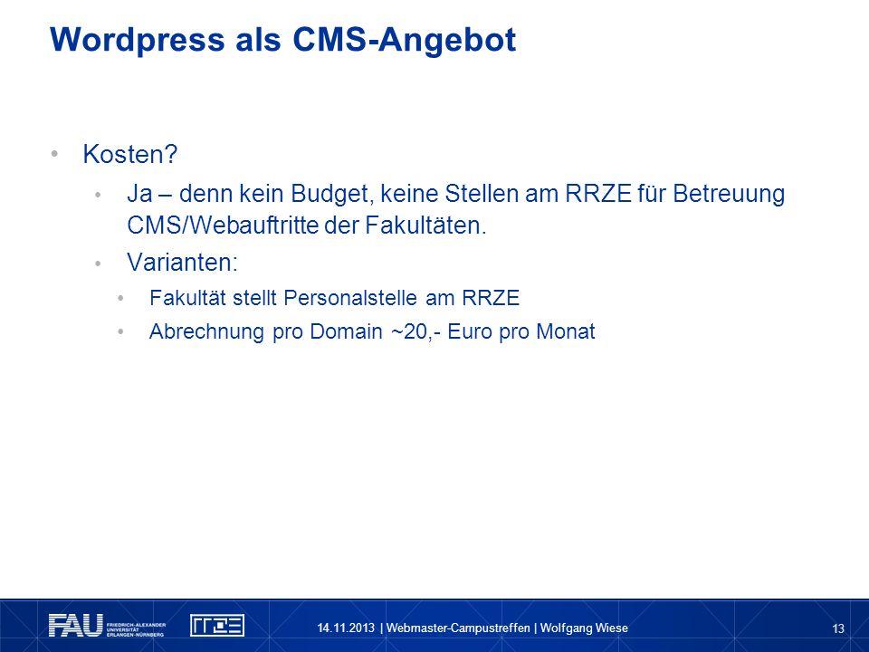 Wordpress als CMS-Angebot