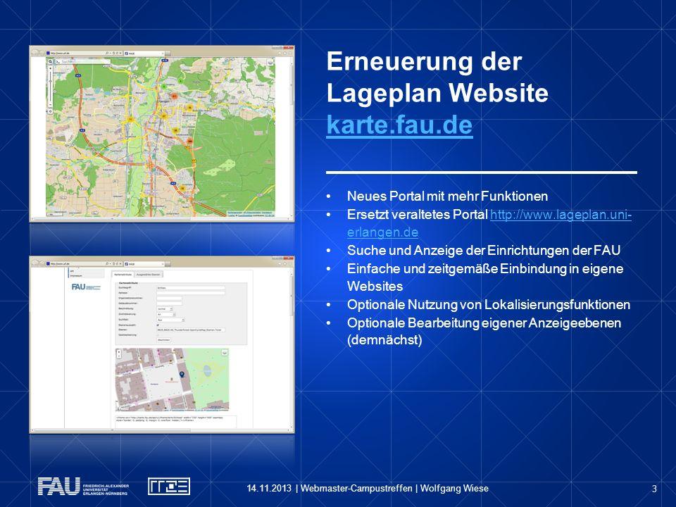 Erneuerung der Lageplan Website karte.fau.de