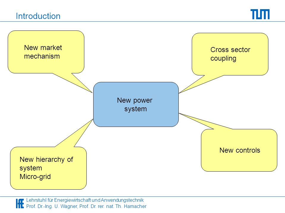 Introduction New market Cross sector mechanism coupling New power