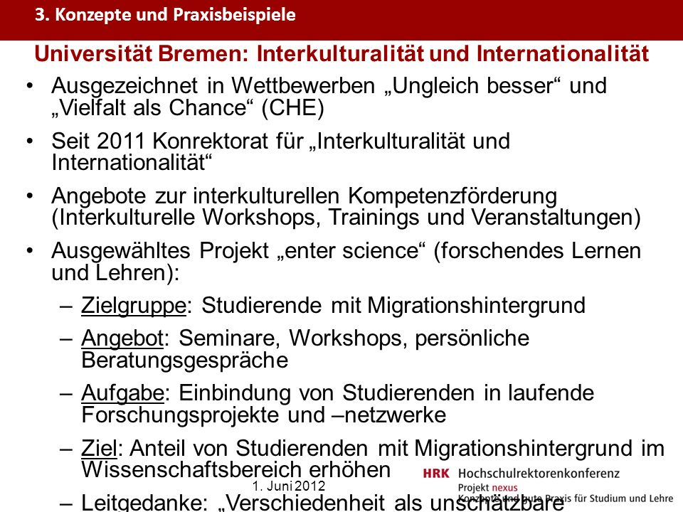 Universität Bremen: Interkulturalität und Internationalität