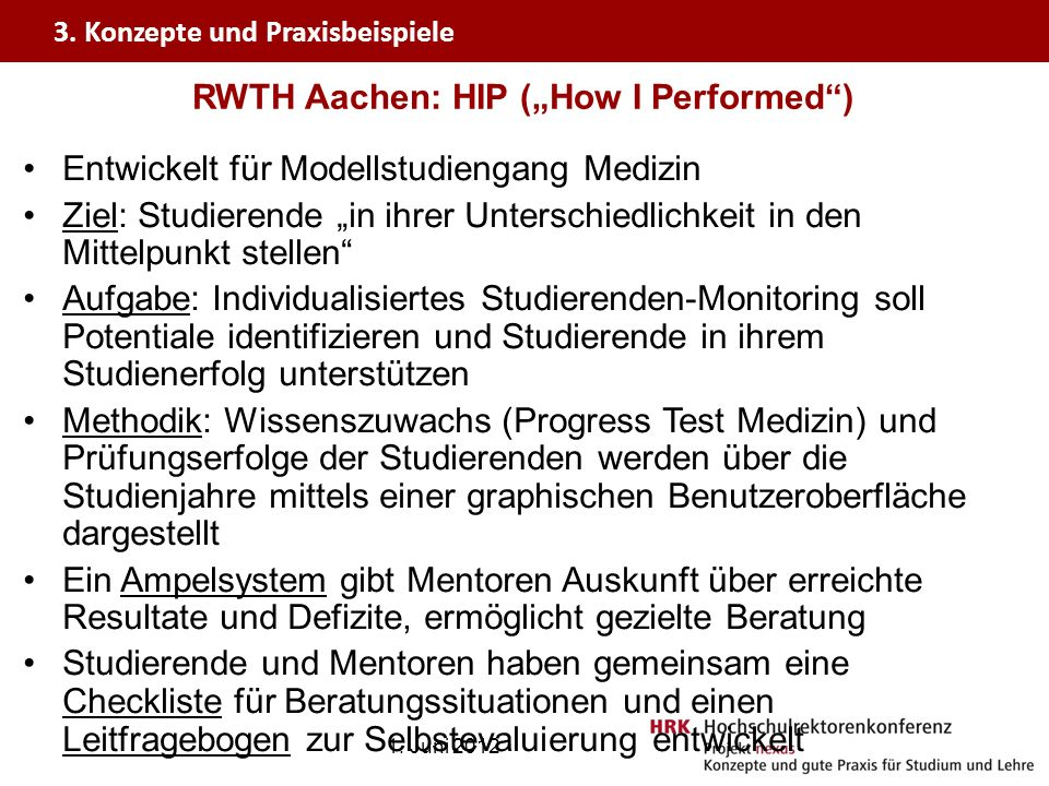 "RWTH Aachen: HIP (""How I Performed )"
