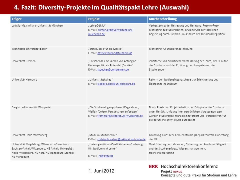 4. Fazit: Diversity-Projekte im Qualitätspakt Lehre (Auswahl)