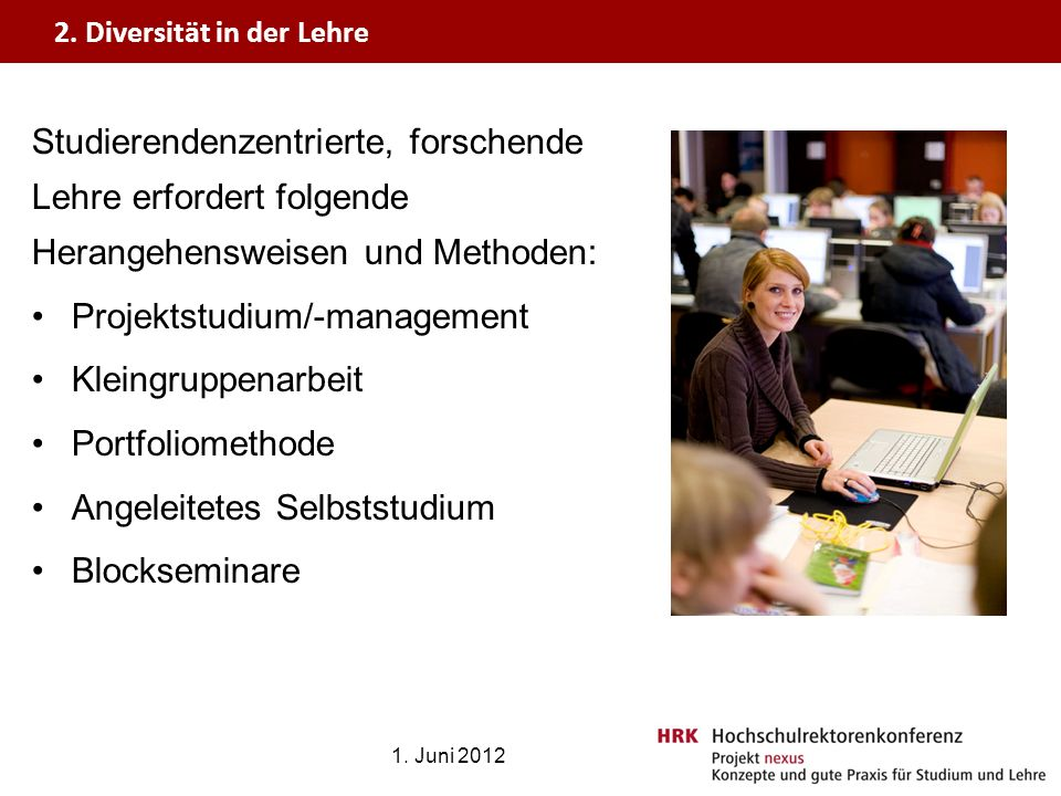 Projektstudium/-management Kleingruppenarbeit Portfoliomethode