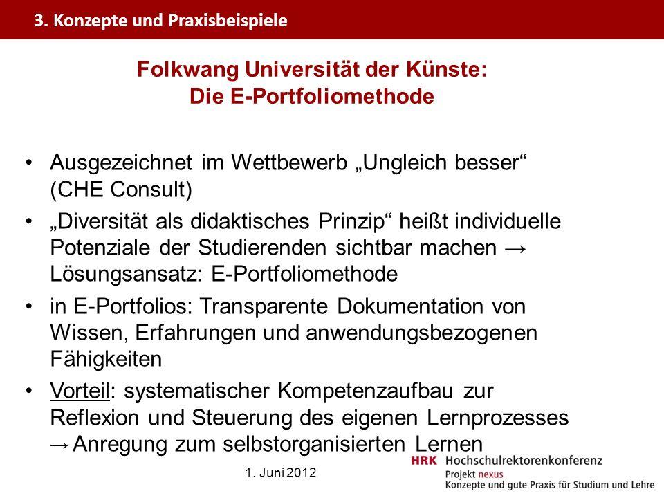 Folkwang Universität der Künste: Die E-Portfoliomethode