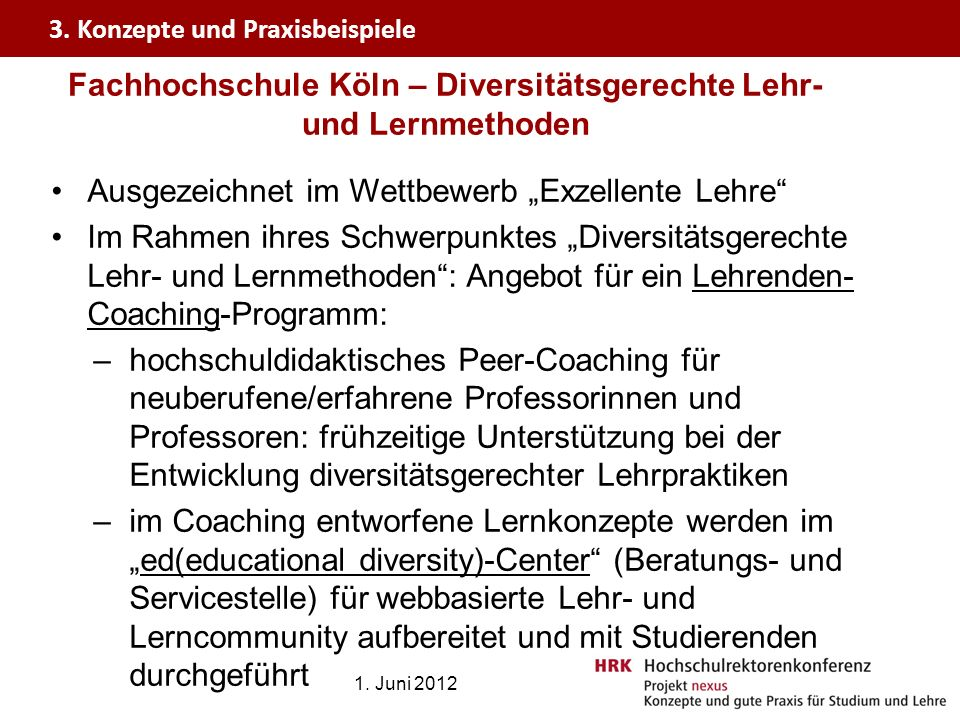 Fachhochschule Köln – Diversitätsgerechte Lehr- und Lernmethoden