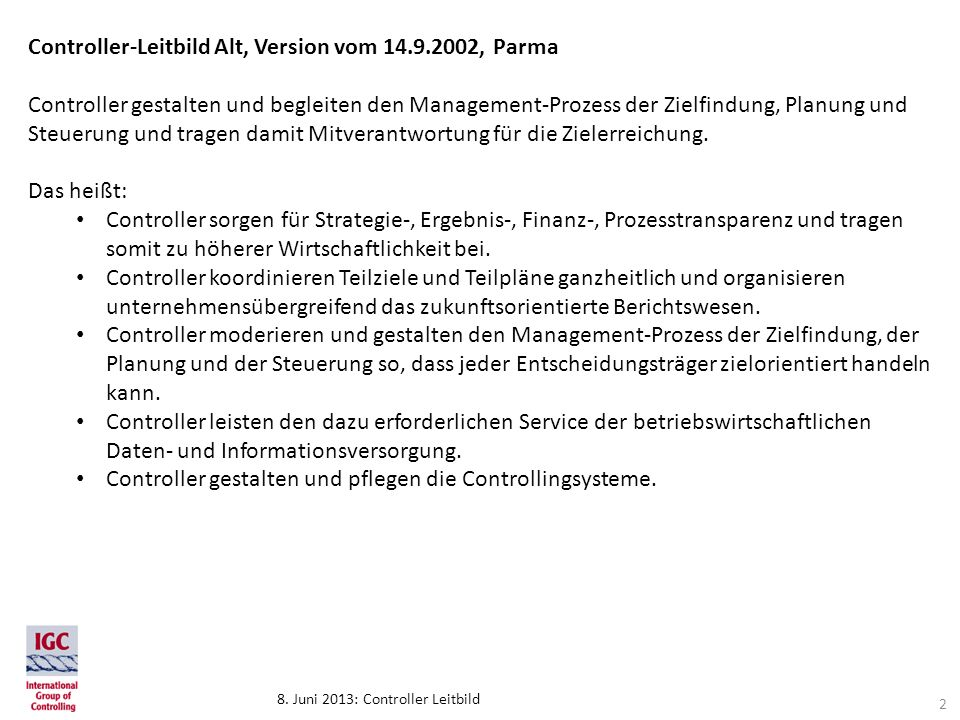 Controller-Leitbild Alt, Version vom 14.9.2002, Parma