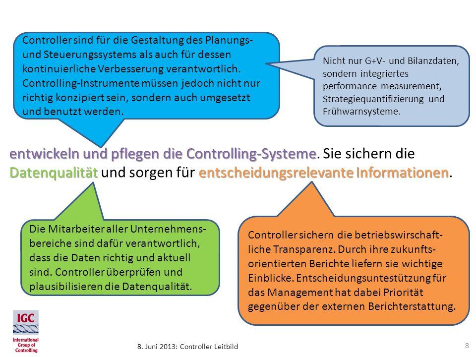 Controller sind für die Gestaltung des Planungs- und Steuerungssystems als auch für dessen kontinuierliche Verbesserung verantwortlich. Controlling-Instrumente müssen jedoch nicht nur richtig konzipiert sein, sondern auch umgesetzt und benutzt werden.