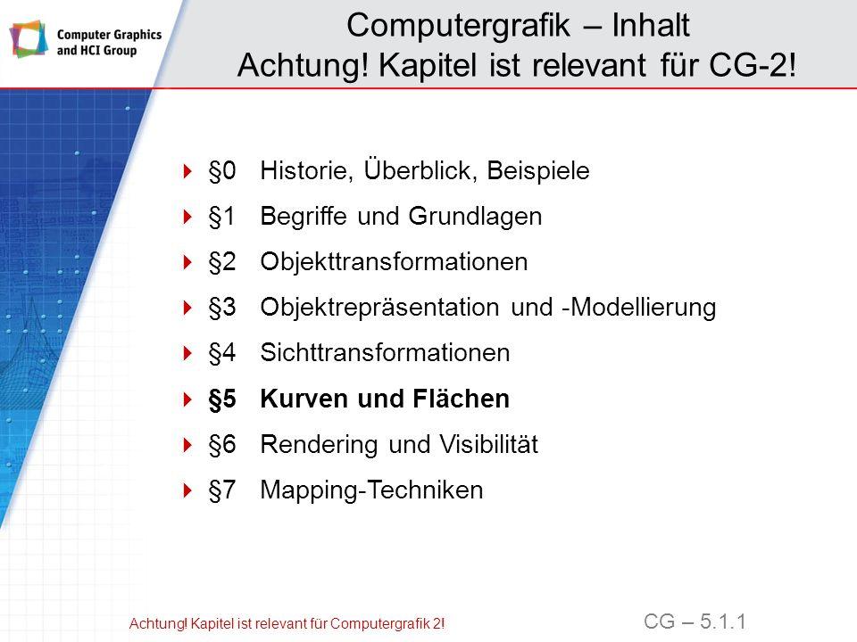 Computergrafik – Inhalt Achtung! Kapitel ist relevant für CG-2!
