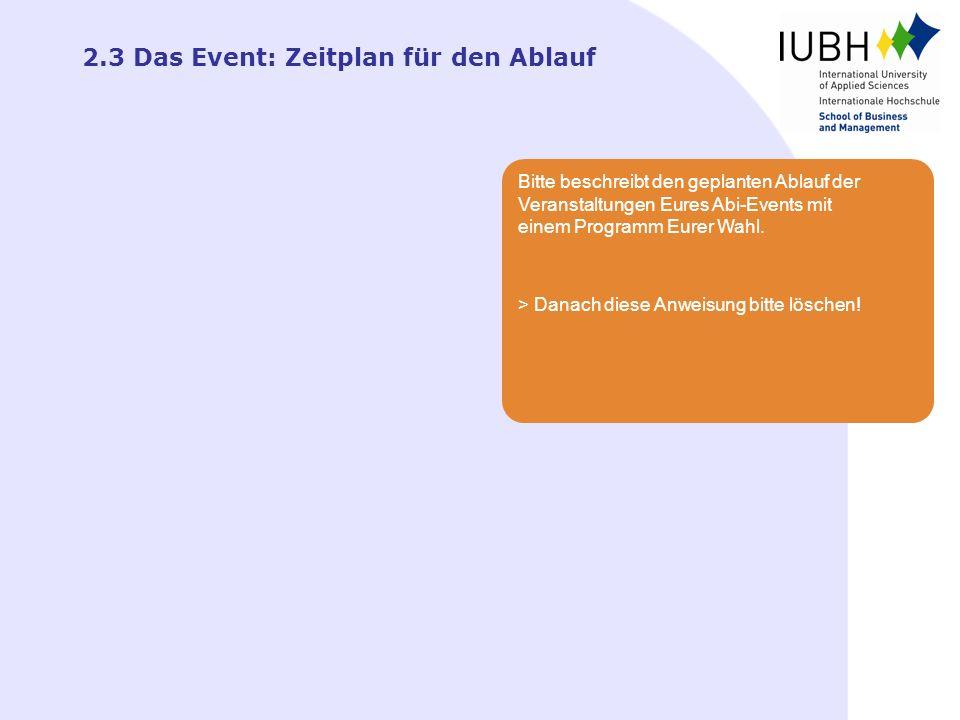 2.3 Das Event: Zeitplan für den Ablauf