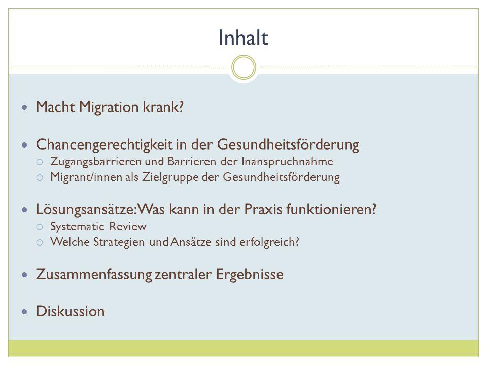 Inhalt Macht Migration krank