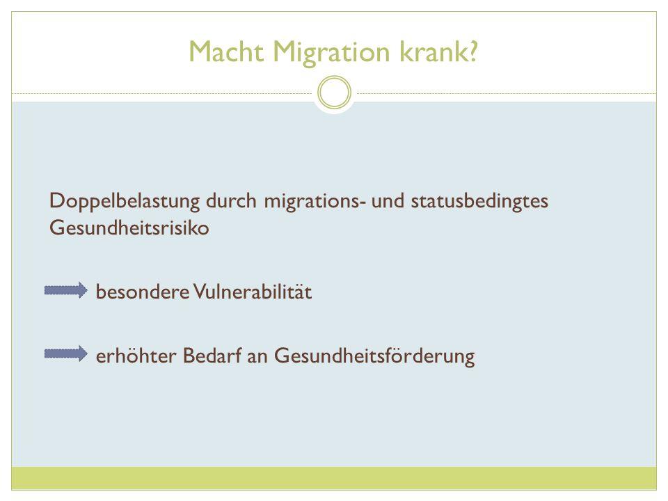 Macht Migration krank Doppelbelastung durch migrations- und statusbedingtes Gesundheitsrisiko. besondere Vulnerabilität.